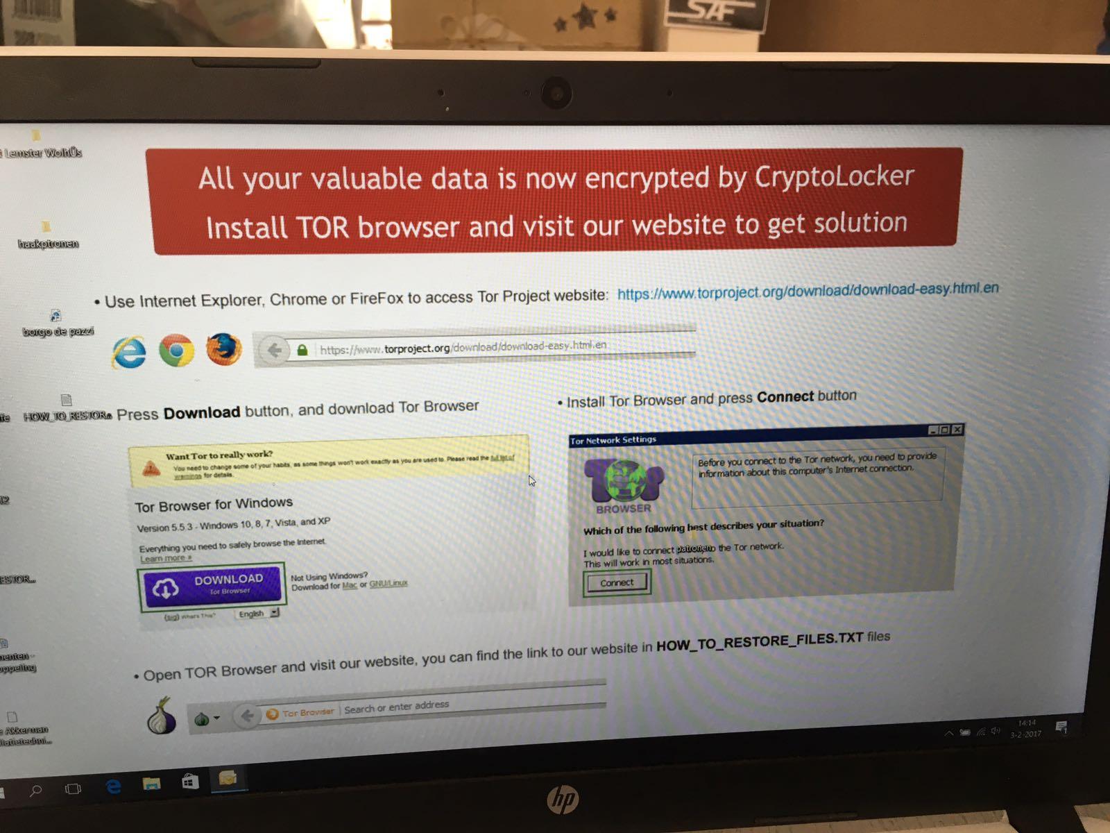 Schermafbeelding cryptolocker